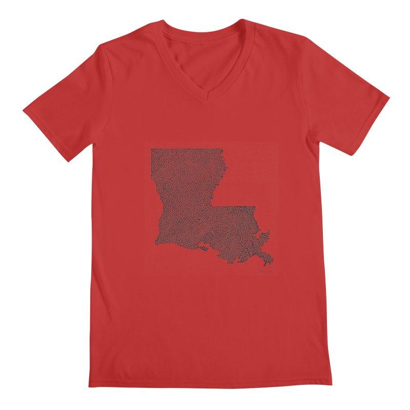 Louisiana - One Continuous Line Men's V-Neck by Daniel Dugan's Artist Shop