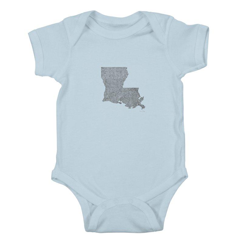 Louisiana - One Continuous Line Kids Baby Bodysuit by Daniel Dugan's Artist Shop