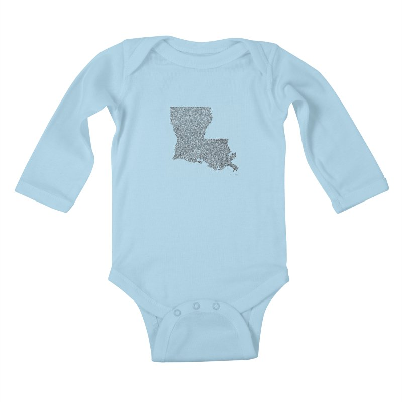 Louisiana - One Continuous Line Kids Baby Longsleeve Bodysuit by Daniel Dugan's Artist Shop