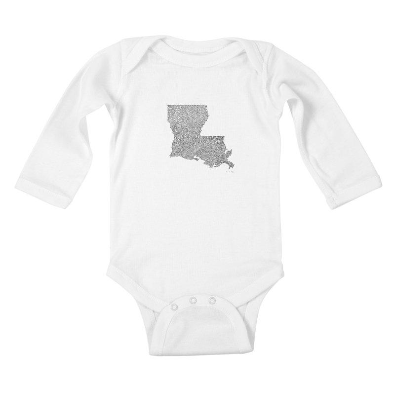 Louisiana - One Continuous Line Kids Baby Longsleeve Bodysuit by Daniel Dugan's Artist Shop