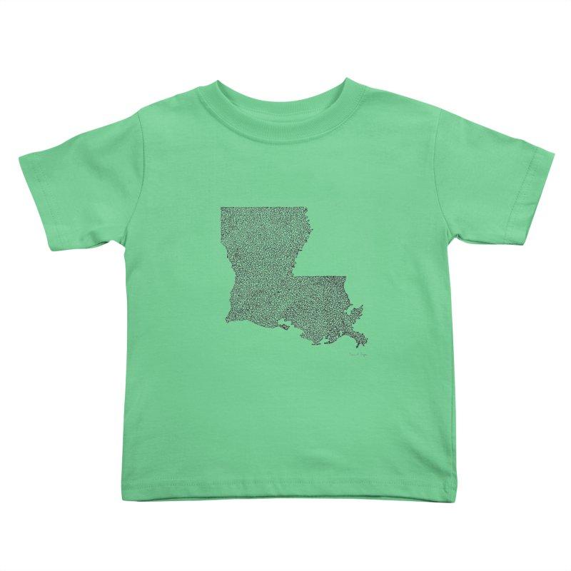 Louisiana - One Continuous Line Kids Toddler T-Shirt by Daniel Dugan's Artist Shop