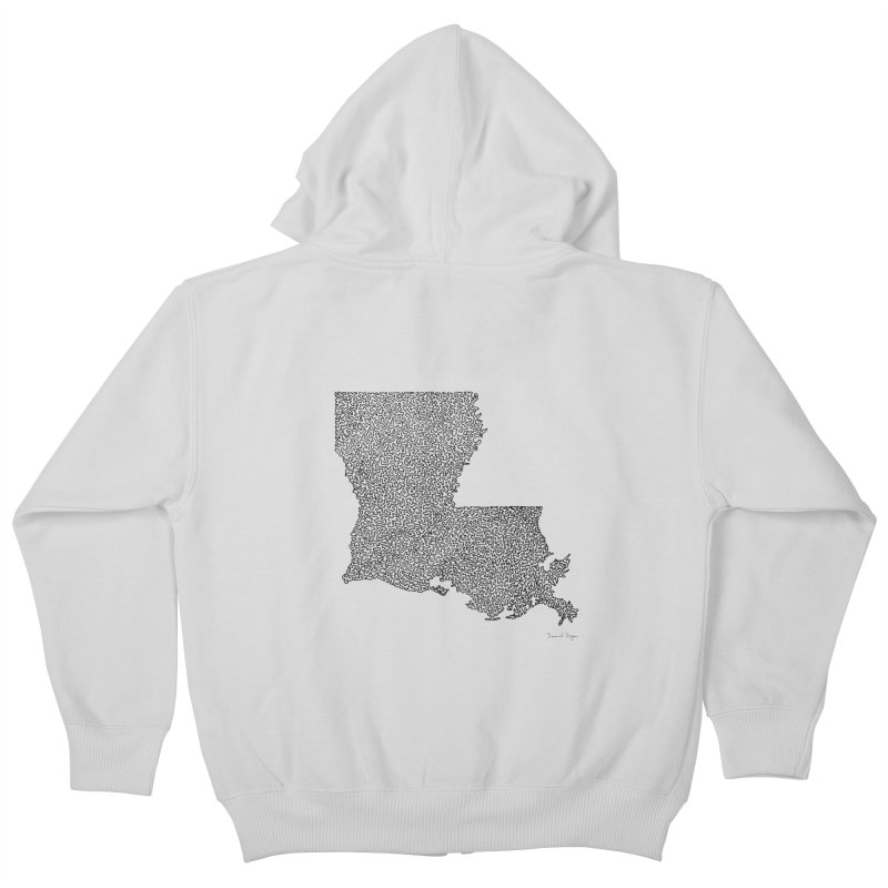 Louisiana - One Continuous Line Kids Zip-Up Hoody by Daniel Dugan's Artist Shop