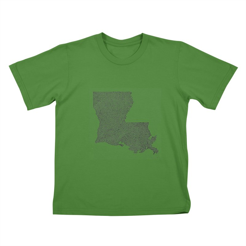 Louisiana - One Continuous Line Kids T-Shirt by Daniel Dugan's Artist Shop