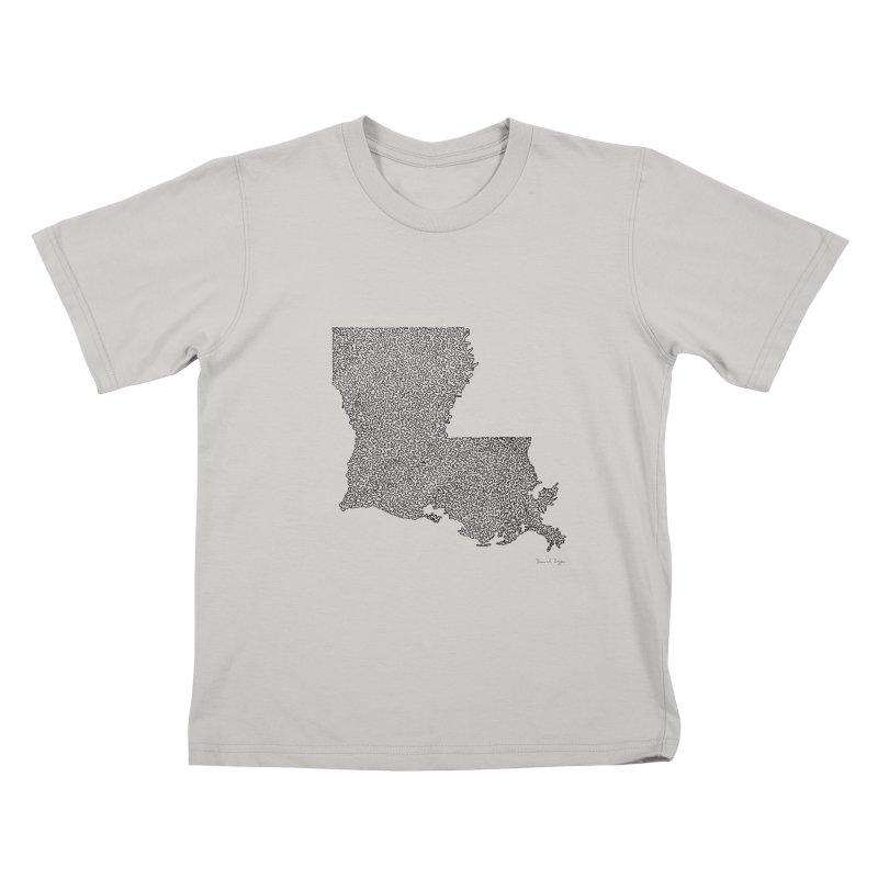 Louisiana - One Continuous Line Kids T-Shirt by Daniel Dugan's Artist Shop