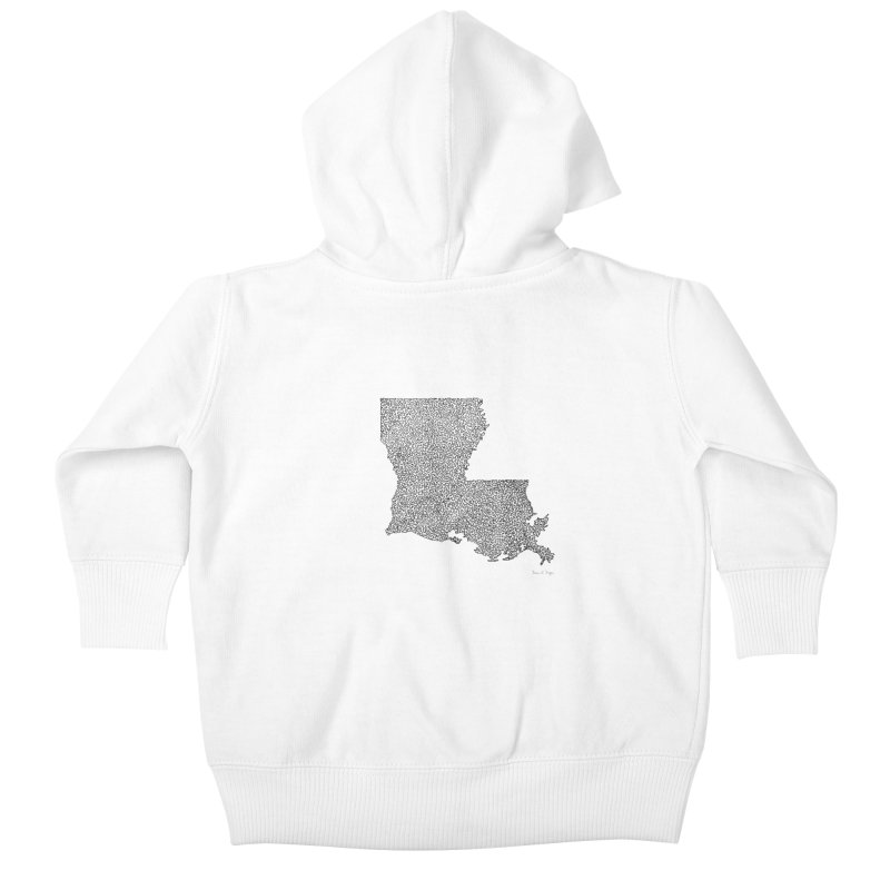 Louisiana - One Continuous Line Kids Baby Zip-Up Hoody by Daniel Dugan's Artist Shop