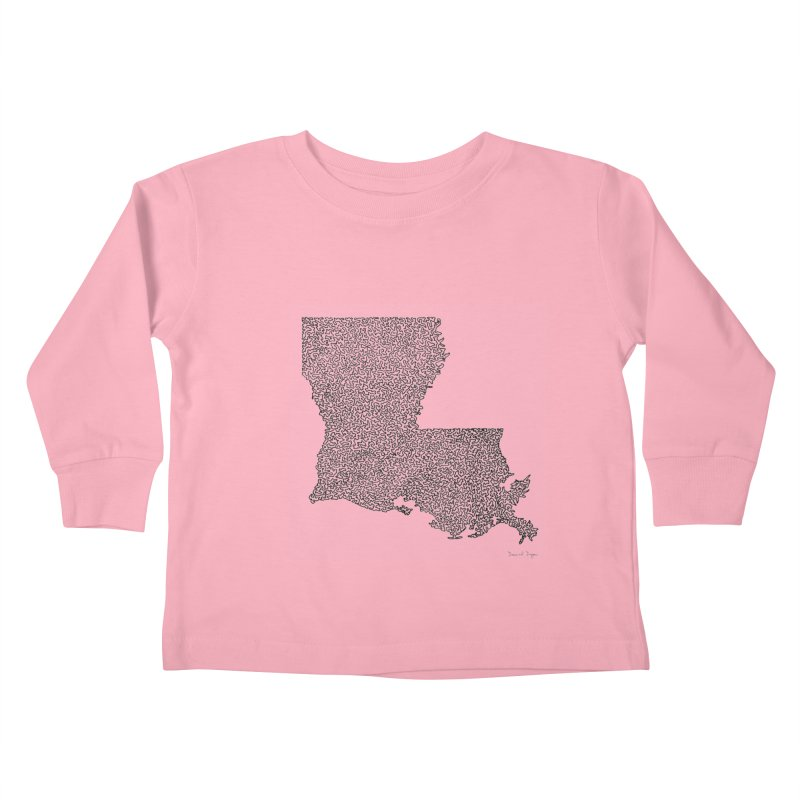 Louisiana - One Continuous Line Kids Toddler Longsleeve T-Shirt by Daniel Dugan's Artist Shop
