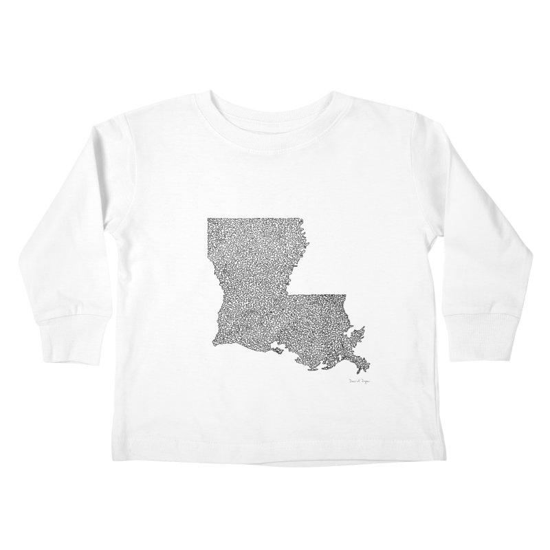 Louisiana - One Continuous Line Kids Toddler Longsleeve T-Shirt by Daniel Dugan's Artist Shop