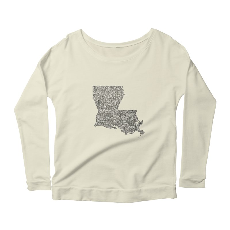 Louisiana - One Continuous Line Women's Scoop Neck Longsleeve T-Shirt by Daniel Dugan's Artist Shop