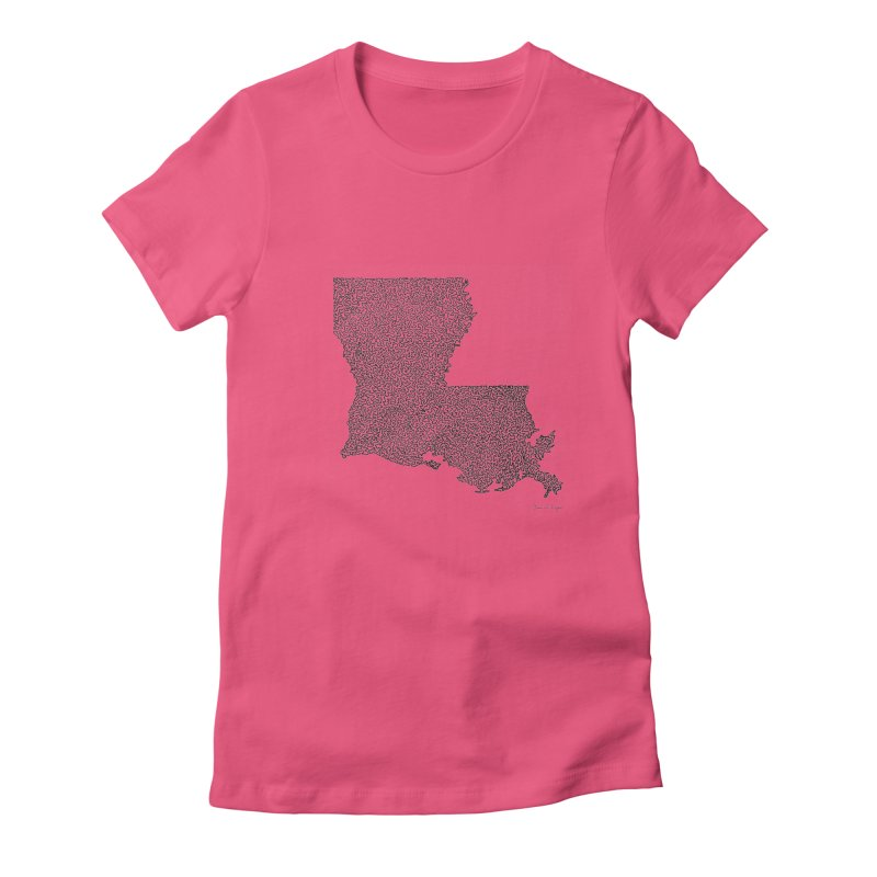 Louisiana - One Continuous Line Women's Fitted T-Shirt by Daniel Dugan's Artist Shop