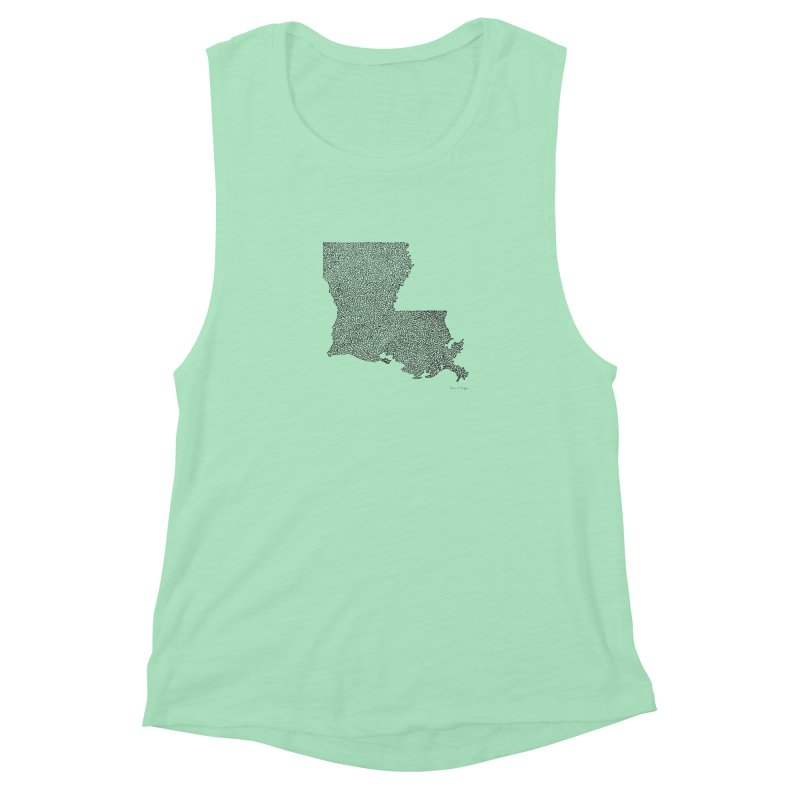 Louisiana - One Continuous Line Women's Muscle Tank by Daniel Dugan's Artist Shop