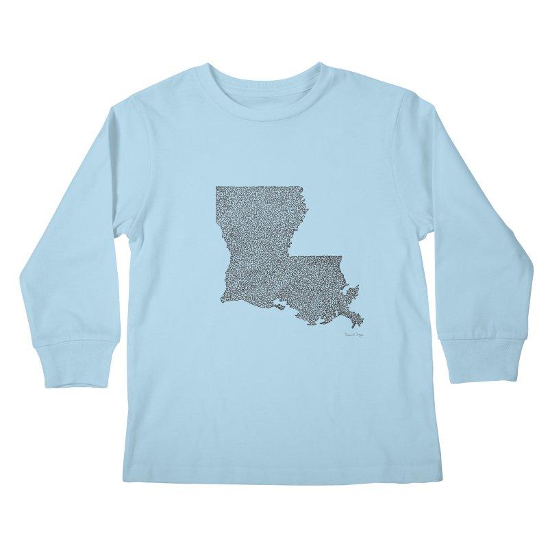 Louisiana - One Continuous Line Kids Longsleeve T-Shirt by Daniel Dugan's Artist Shop