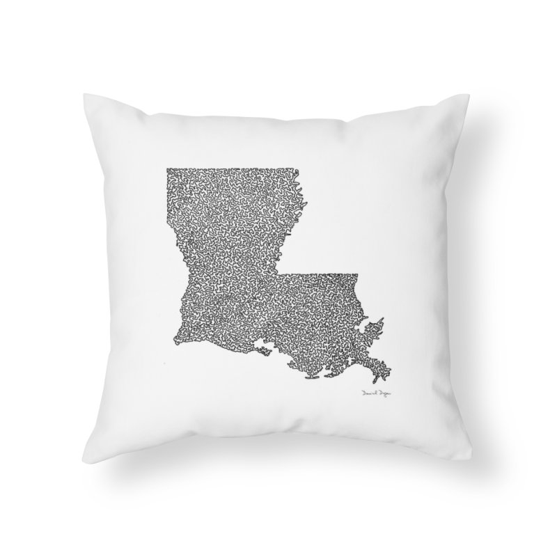Louisiana - One Continuous Line Home Throw Pillow by Daniel Dugan's Artist Shop
