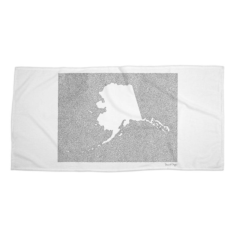 Alaska - One Continuous Line Accessories Beach Towel by Daniel Dugan's Artist Shop