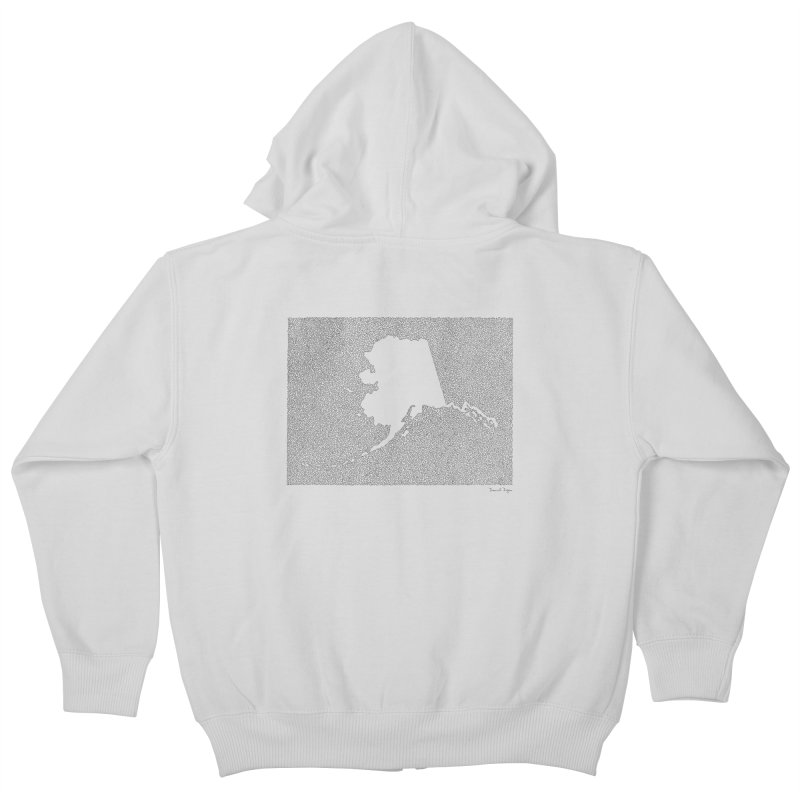 Alaska - One Continuous Line Kids Zip-Up Hoody by Daniel Dugan's Artist Shop