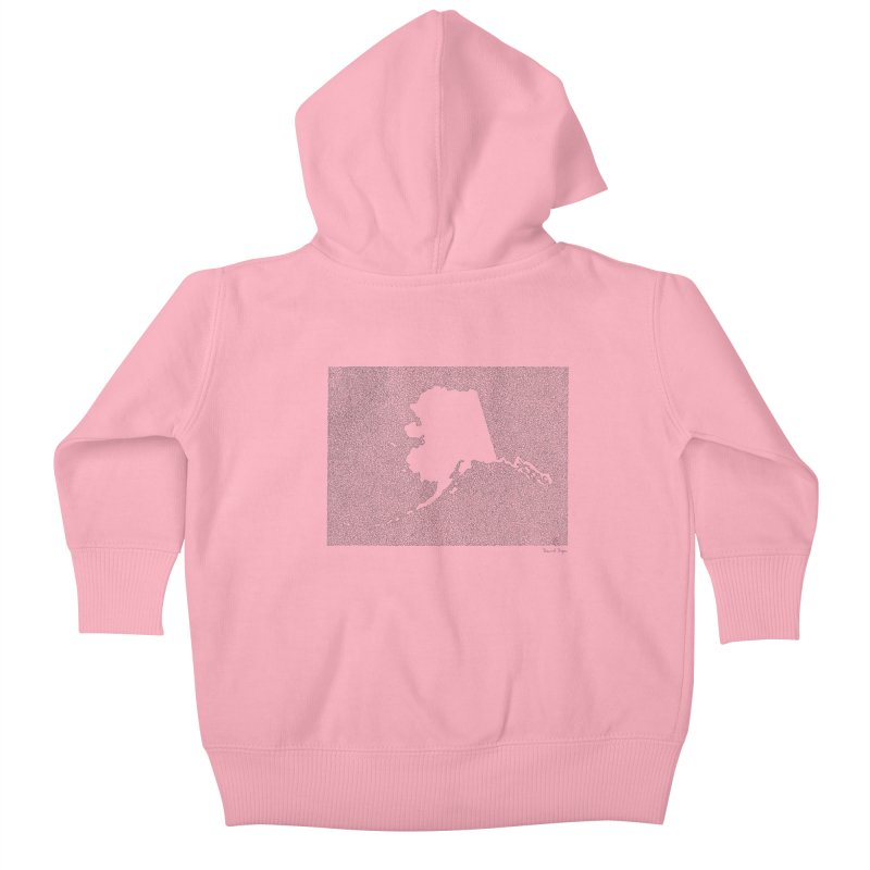 Alaska - One Continuous Line Kids Baby Zip-Up Hoody by Daniel Dugan's Artist Shop