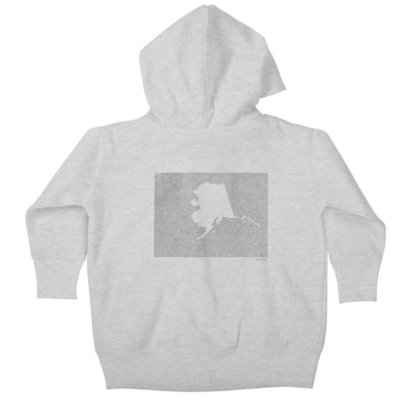 Alaska - One Continuous Line Kids Baby Zip-Up Hoody by Daniel Dugan's Artist Shop