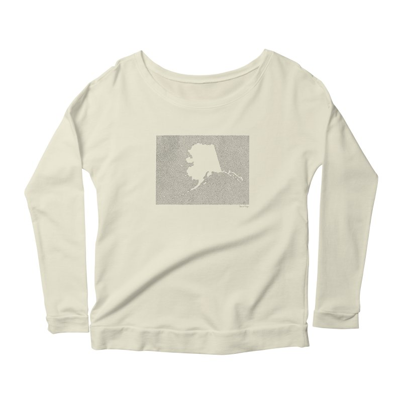 Alaska - One Continuous Line Women's Scoop Neck Longsleeve T-Shirt by Daniel Dugan's Artist Shop