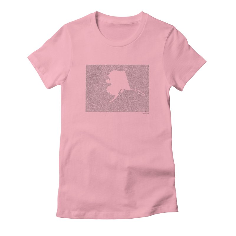 Alaska - One Continuous Line Women's Fitted T-Shirt by Daniel Dugan's Artist Shop