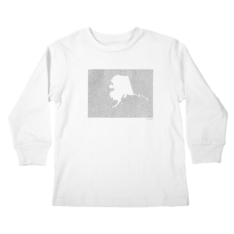 Alaska - One Continuous Line Kids Longsleeve T-Shirt by Daniel Dugan's Artist Shop