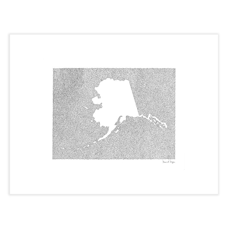 Alaska - One Continuous Line Home Fine Art Print by Daniel Dugan's Artist Shop