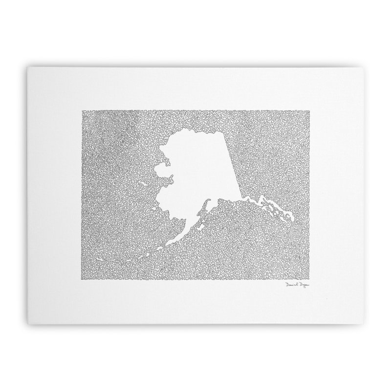 Alaska - One Continuous Line Home Stretched Canvas by Daniel Dugan's Artist Shop