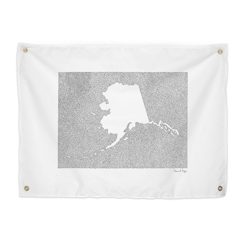 Alaska - One Continuous Line Home Tapestry by Daniel Dugan's Artist Shop