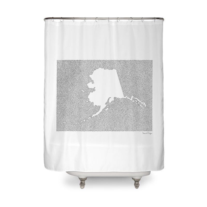 Alaska - One Continuous Line Home Shower Curtain by Daniel Dugan's Artist Shop
