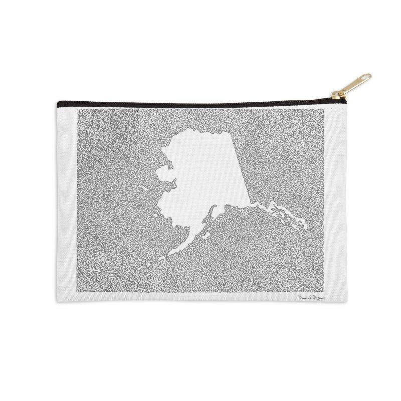 Alaska - One Continuous Line Accessories Zip Pouch by Daniel Dugan's Artist Shop