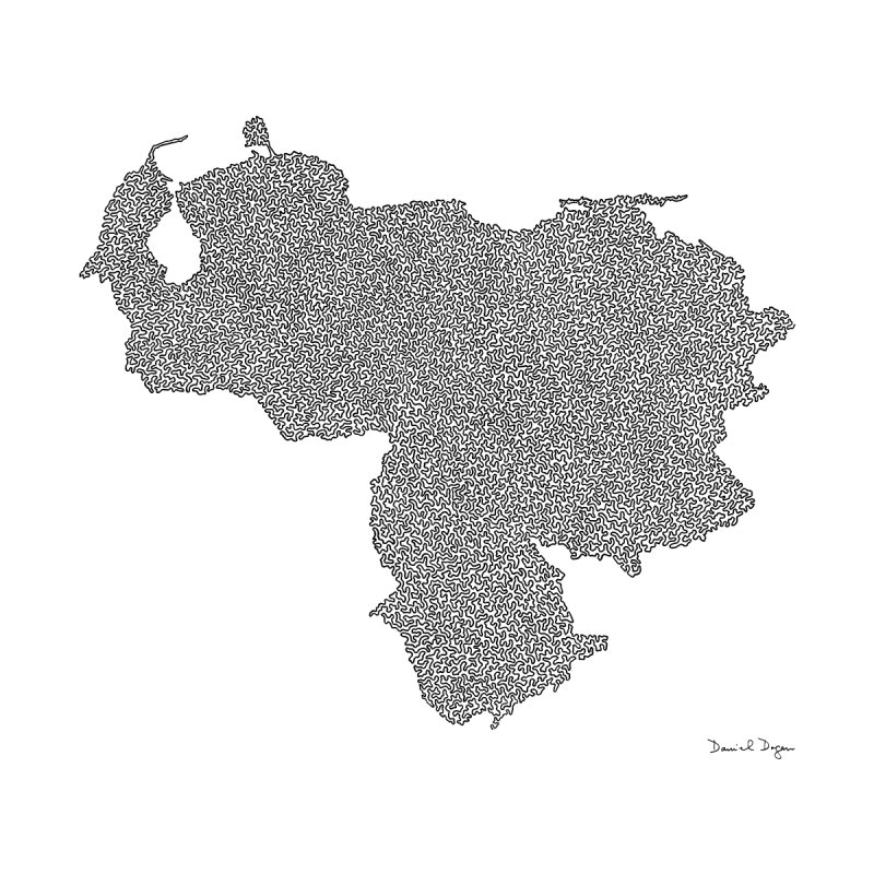 Venezuela Map (One Continuous Line) by Daniel Dugan by Daniel Dugan's Artist Shop