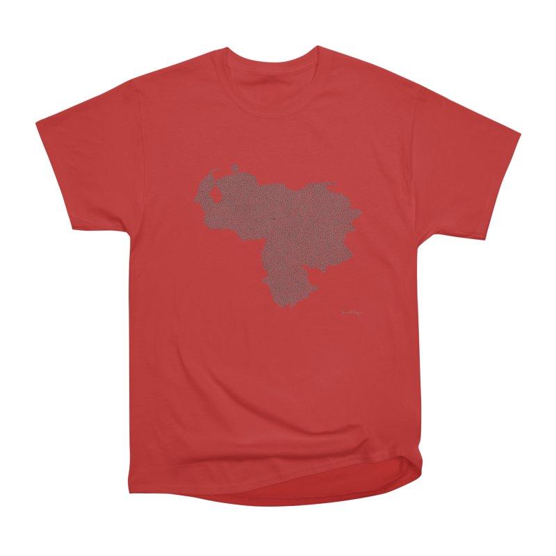Venezuela Map (One Continuous Line) by Daniel Dugan Women's Heavyweight Unisex T-Shirt by Daniel Dugan's Artist Shop