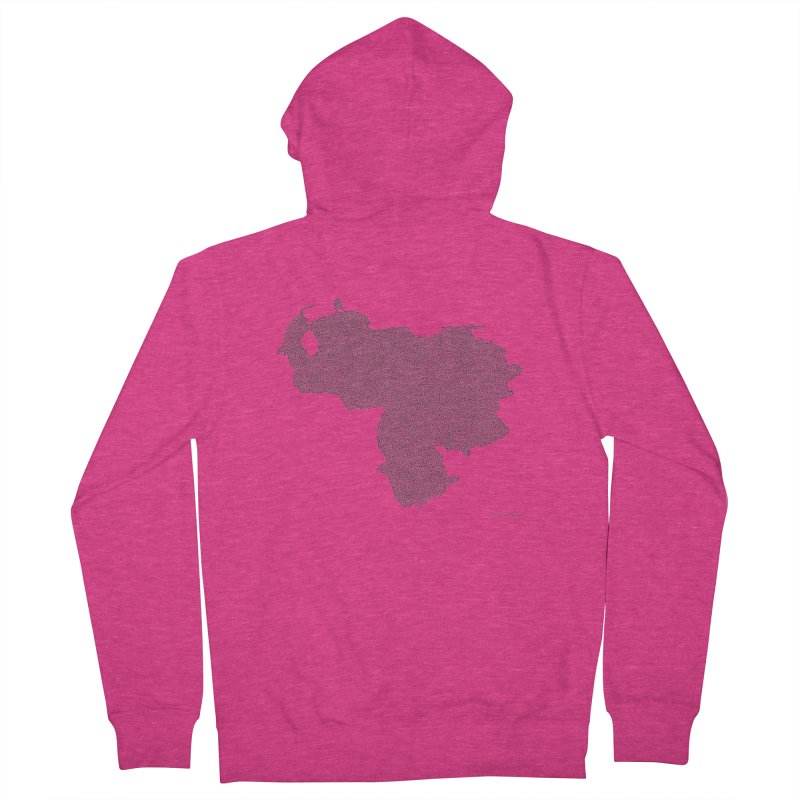 Venezuela Map (One Continuous Line) by Daniel Dugan Women's Zip-Up Hoody by Daniel Dugan's Artist Shop
