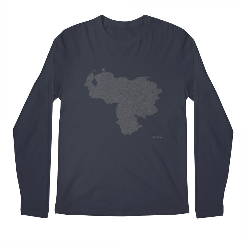 Venezuela Map (One Continuous Line) by Daniel Dugan Men's Longsleeve T-Shirt by Daniel Dugan's Artist Shop