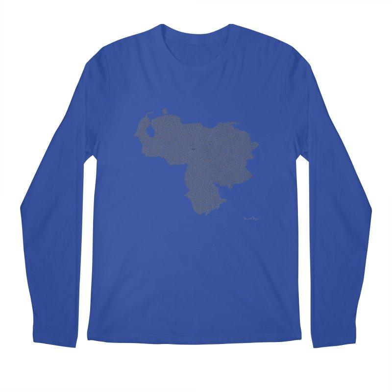 Venezuela Map (One Continuous Line) by Daniel Dugan Men's Regular Longsleeve T-Shirt by Daniel Dugan's Artist Shop