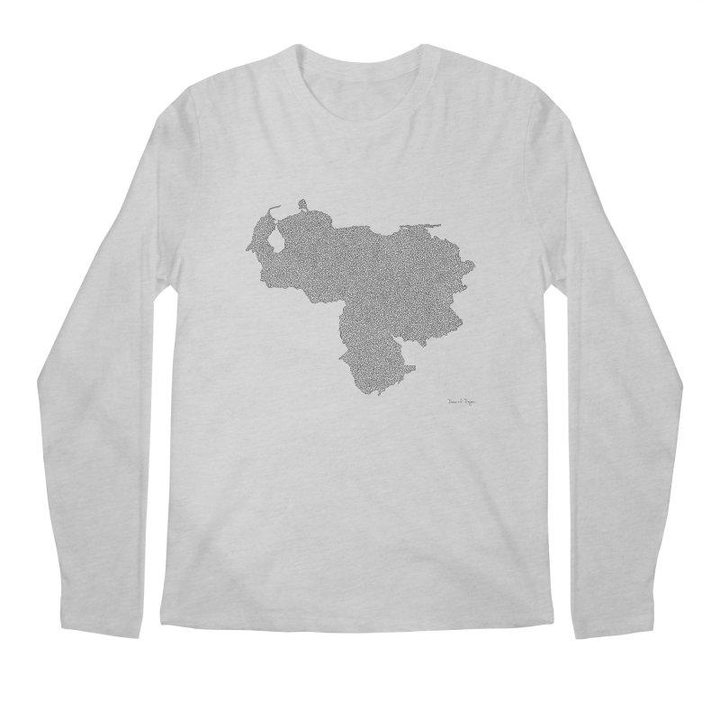 Venezuela Map (One Continuous Line) by Daniel Dugan Men's Longsleeve T-Shirt by Daniel Dugan's Artist Shop