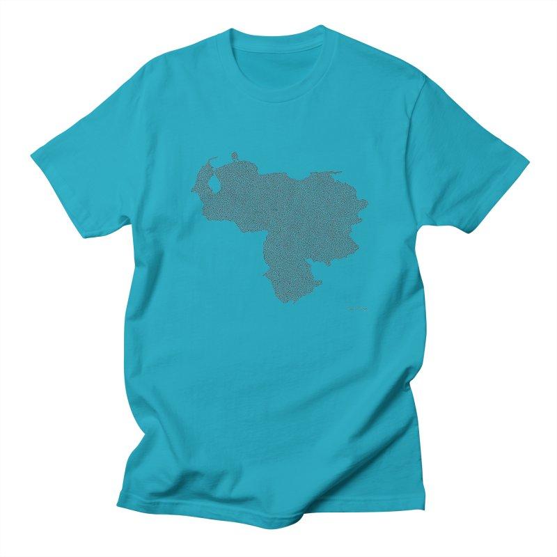 Venezuela Map (One Continuous Line) by Daniel Dugan Men's T-Shirt by Daniel Dugan's Artist Shop