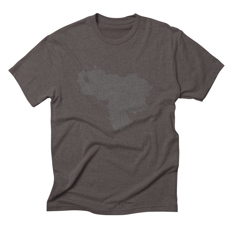Venezuela Map (One Continuous Line) by Daniel Dugan Men's Triblend T-Shirt by Daniel Dugan's Artist Shop