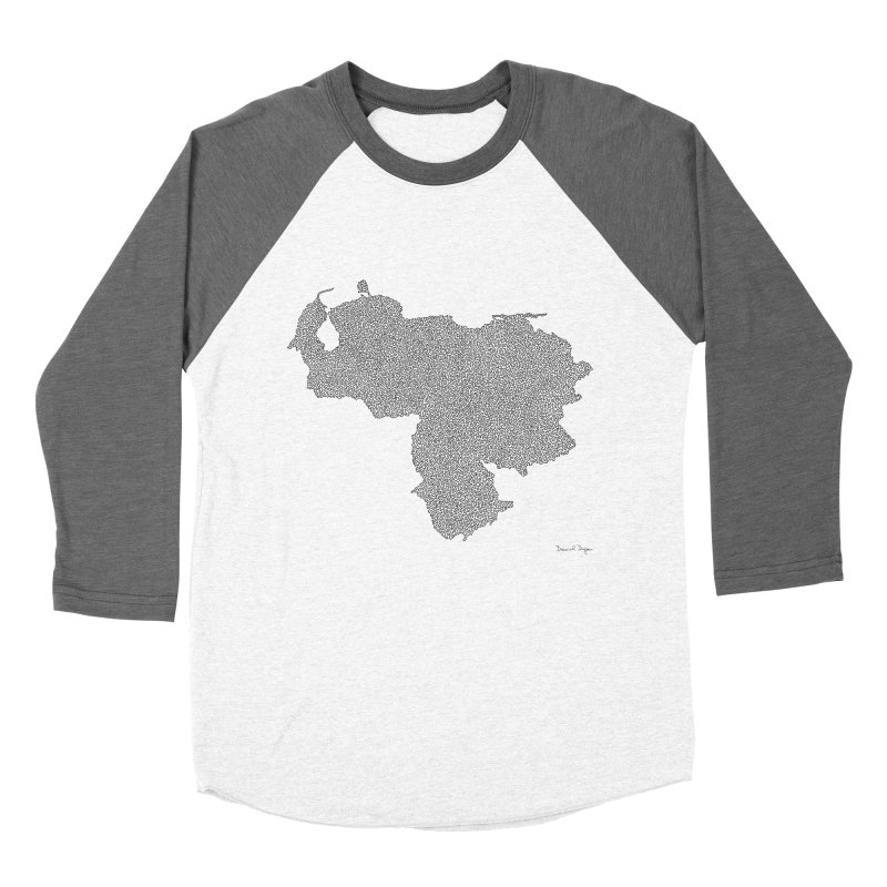 Venezuela Map (One Continuous Line) by Daniel Dugan Men's Baseball Triblend Longsleeve T-Shirt by Daniel Dugan's Artist Shop