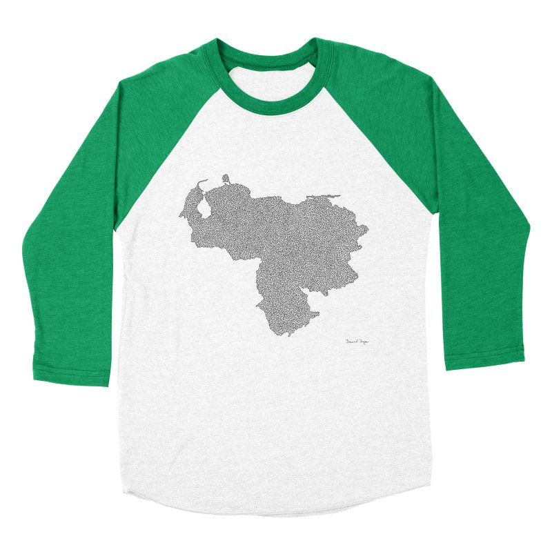 Venezuela Map (One Continuous Line) by Daniel Dugan Men's Baseball Triblend T-Shirt by Daniel Dugan's Artist Shop
