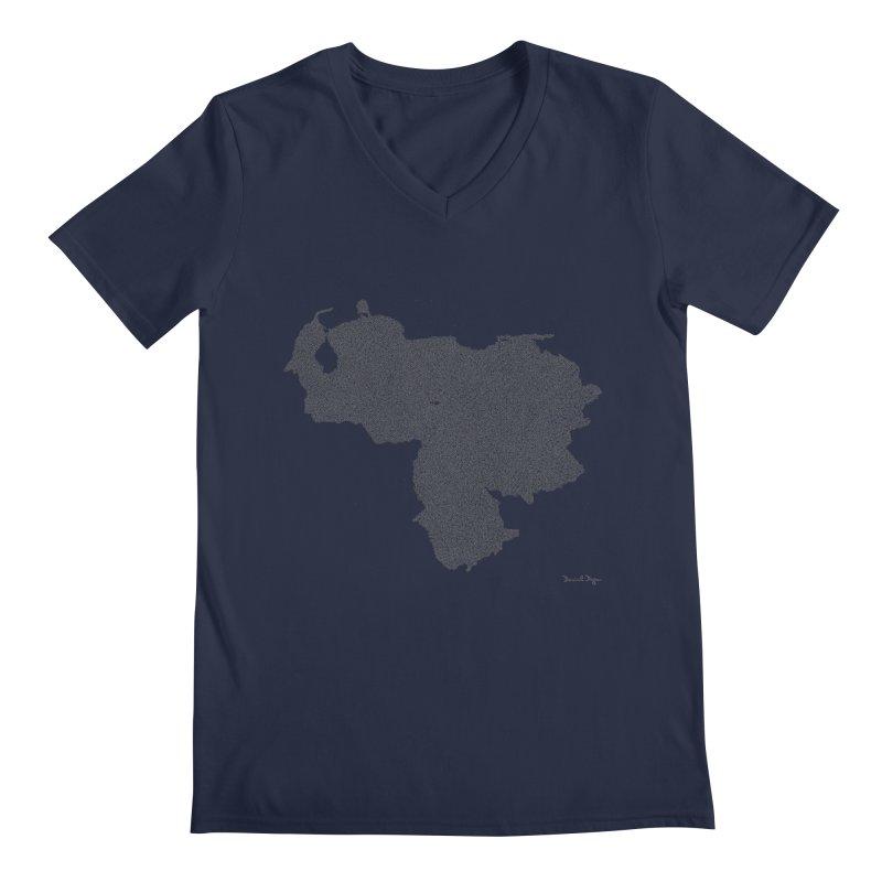 Venezuela Map (One Continuous Line) by Daniel Dugan Men's Regular V-Neck by Daniel Dugan's Artist Shop