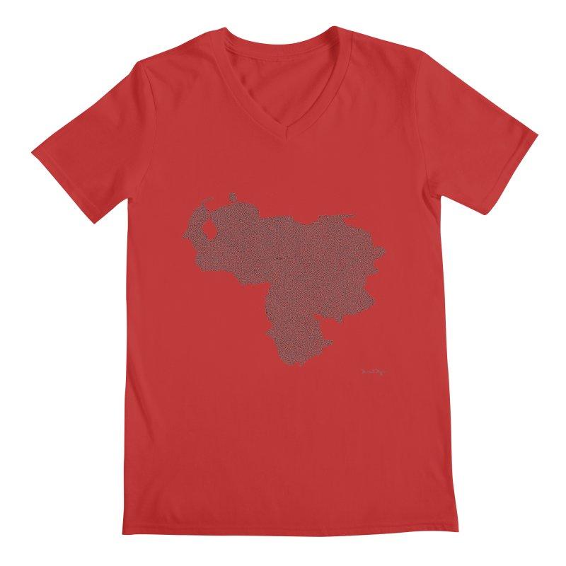 Venezuela Map (One Continuous Line) by Daniel Dugan Men's V-Neck by Daniel Dugan's Artist Shop