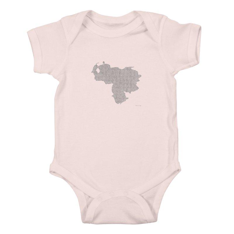 Venezuela Map (One Continuous Line) by Daniel Dugan Kids Baby Bodysuit by Daniel Dugan's Artist Shop