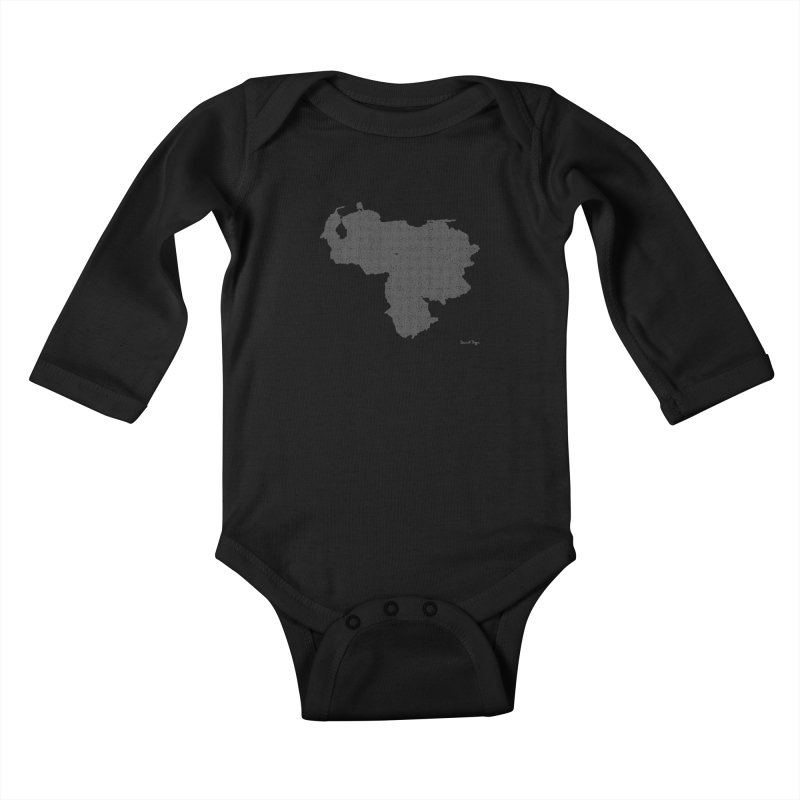 Venezuela Map (One Continuous Line) by Daniel Dugan Kids Baby Longsleeve Bodysuit by Daniel Dugan's Artist Shop