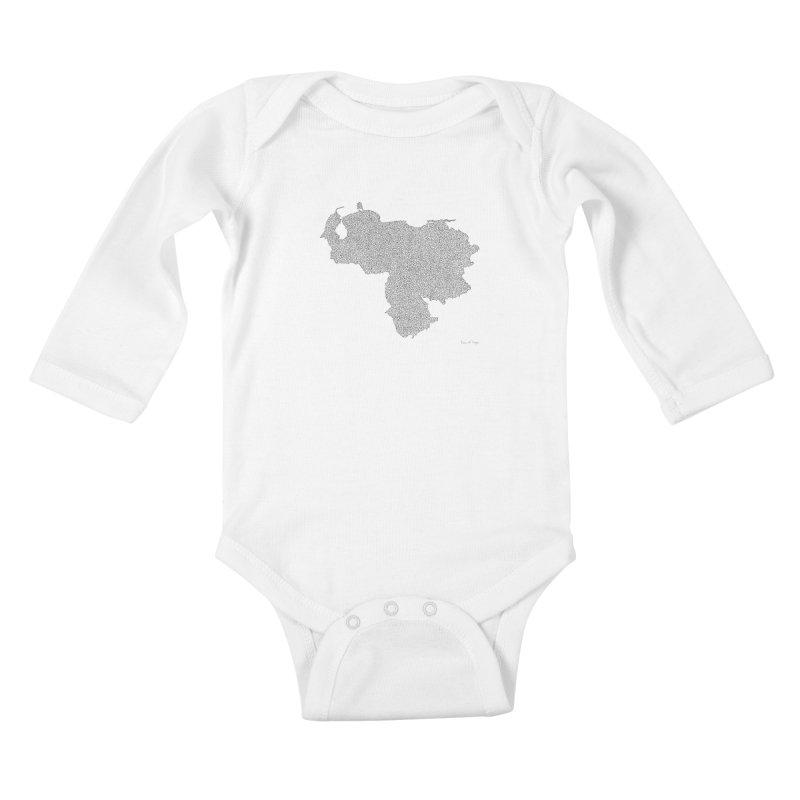Venezuela Map (One Continuous Line) by Daniel Dugan Kids Baby Longsleeve Bodysuit by Daniel Dugan's Artist Shop