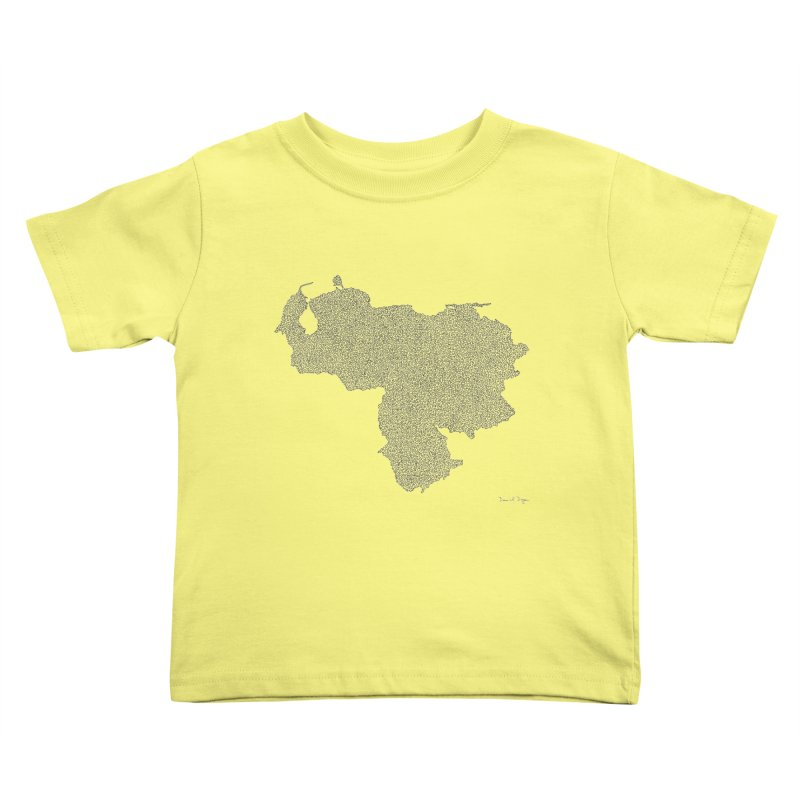 Venezuela Map (One Continuous Line) by Daniel Dugan Kids Toddler T-Shirt by Daniel Dugan's Artist Shop