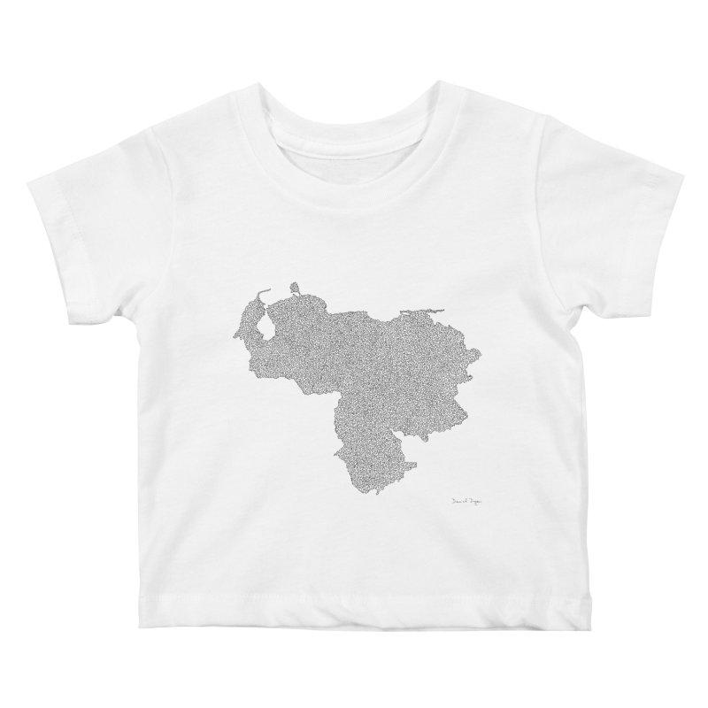 Venezuela Map (One Continuous Line) by Daniel Dugan Kids Baby T-Shirt by Daniel Dugan's Artist Shop