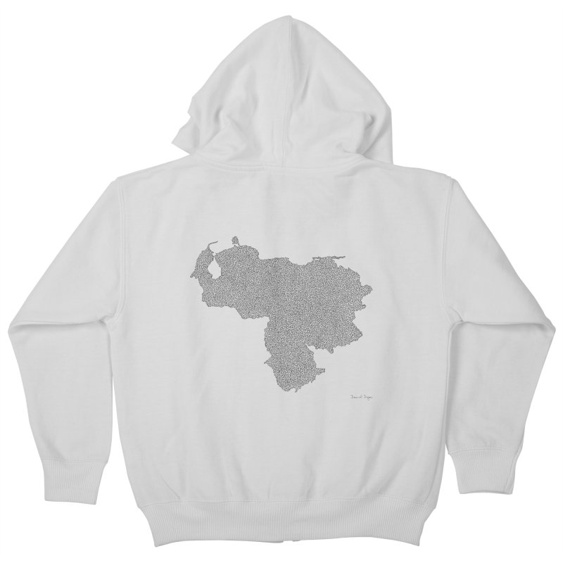 Venezuela Map (One Continuous Line) by Daniel Dugan Kids Zip-Up Hoody by Daniel Dugan's Artist Shop