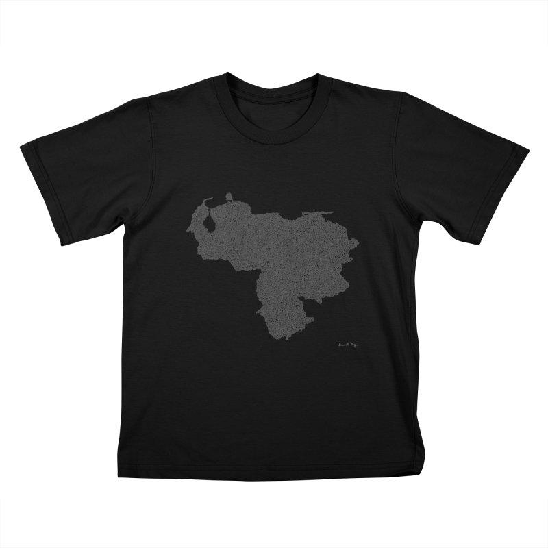Venezuela Map (One Continuous Line) by Daniel Dugan Kids T-Shirt by Daniel Dugan's Artist Shop