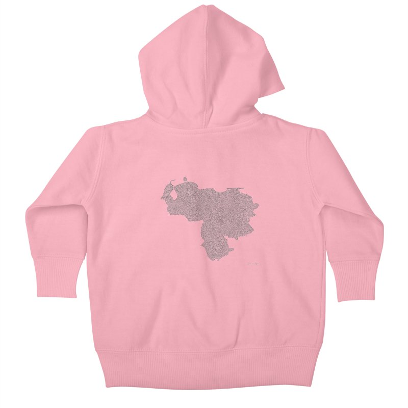 Venezuela Map (One Continuous Line) by Daniel Dugan Kids Baby Zip-Up Hoody by Daniel Dugan's Artist Shop