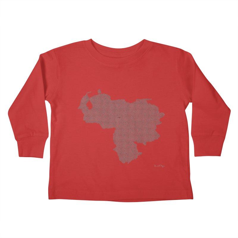 Venezuela Map (One Continuous Line) by Daniel Dugan Kids Toddler Longsleeve T-Shirt by Daniel Dugan's Artist Shop