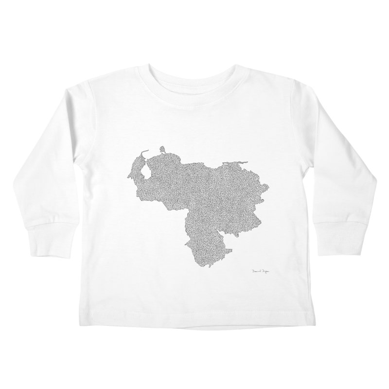 Venezuela Map (One Continuous Line) by Daniel Dugan Kids Toddler Longsleeve T-Shirt by Daniel Dugan's Artist Shop